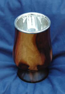 "Custom Sterling Silver Hand spun Chalice insert provided to wood Craftsman, 3 ½"" dia. x 4"" tall insert."